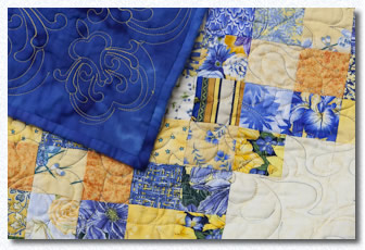 Blue and yellow themed quilt
